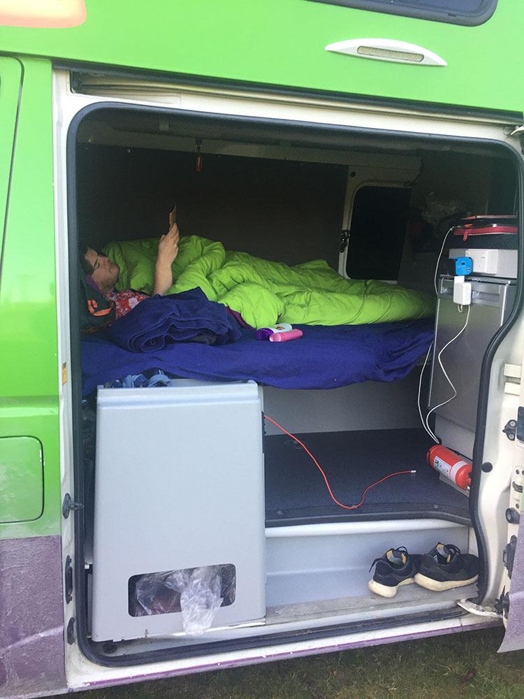 Sieste dans le van